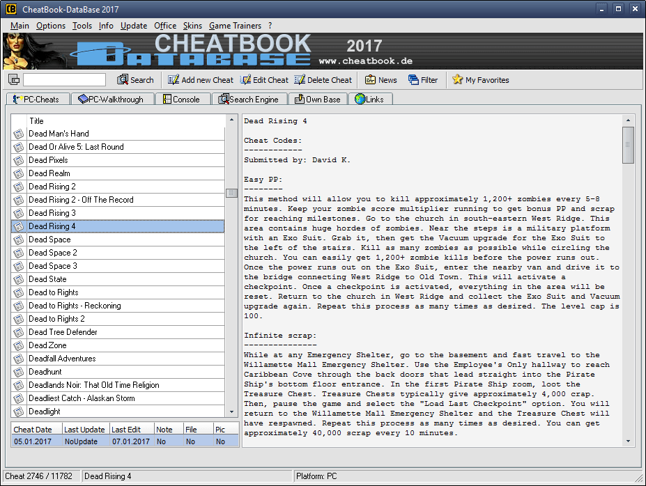 CheatBook-DataBase 2016 Screenshot - Cheats, Walkthroughs and Console Cheats for Games