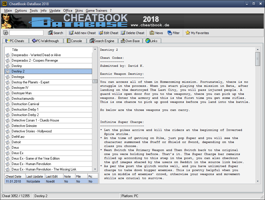 CheatBook DataBase 2018 Freeware
