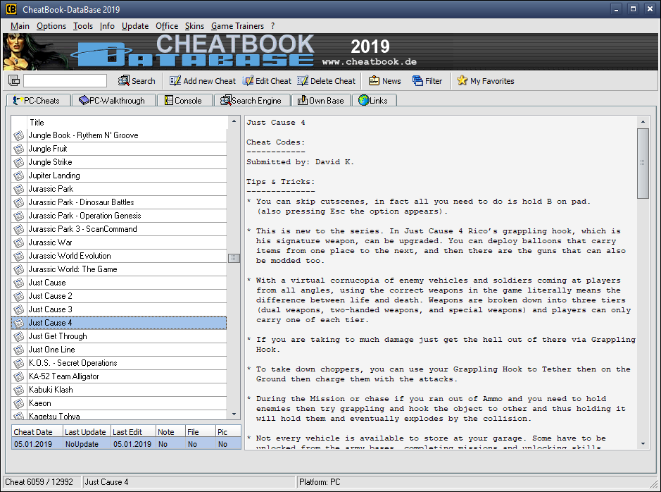 CheatBook-DataBase 2019 Screenshot - Cheats, Walkthroughs and Console Cheats for Games