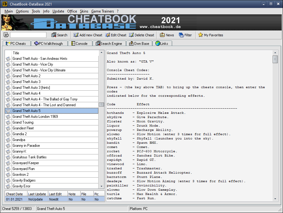 CheatBook-DataBase 2021 Screenshot - Cheats, Walkthroughs and Console Cheats for Games