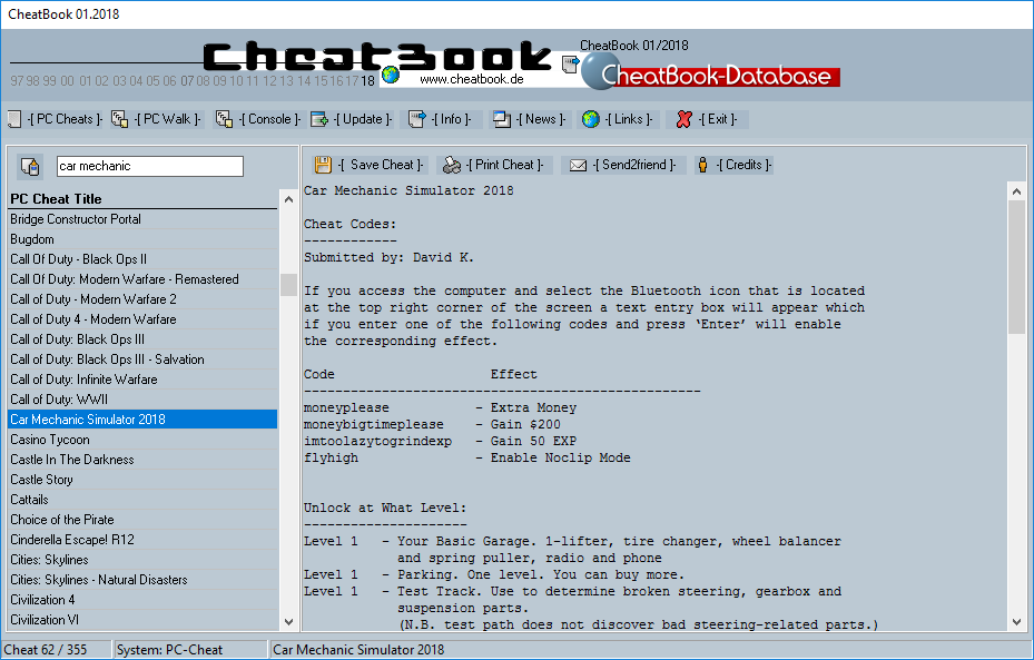 CheatBook (01/2018) - Issue January 2018 is A Cheat-Code Tracker with Cheats, Tips, Tricks and Hints for several popular Games