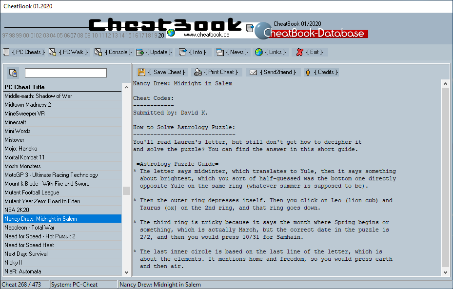 CheatBook (01/2020) - Issue January 2020 is A Cheat-Code Tracker with Cheats, Tips, Tricks and Hints for several popular Games