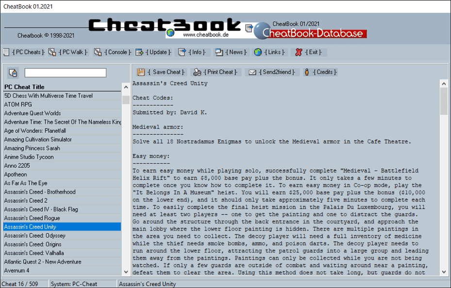 CheatBook (01/2021) - Issue January 2021 is A Cheat-Code Tracker with Cheats, Tips, Tricks and Hints for several popular Games