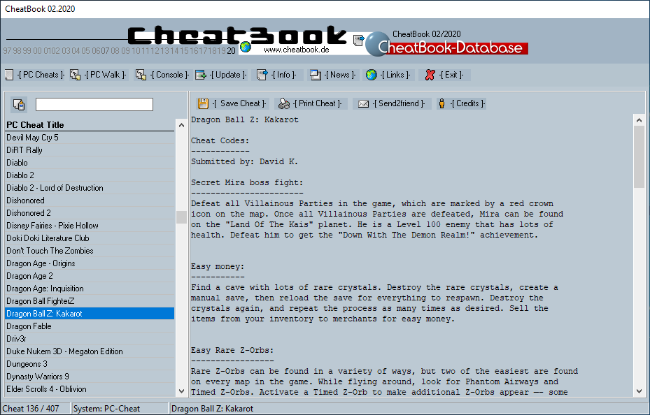 CheatBook (02/2020) - Issue February 2020 is A Cheat-Code Tracker with Cheats, Tips, Tricks and Hints for several popular Games