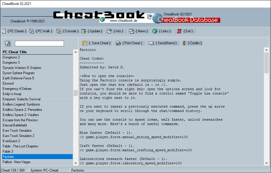 CheatBook (02/2021) - Issue February 2021 is A Cheat-Code Tracker with Cheats, Tips, Tricks and Hints for several popular Games