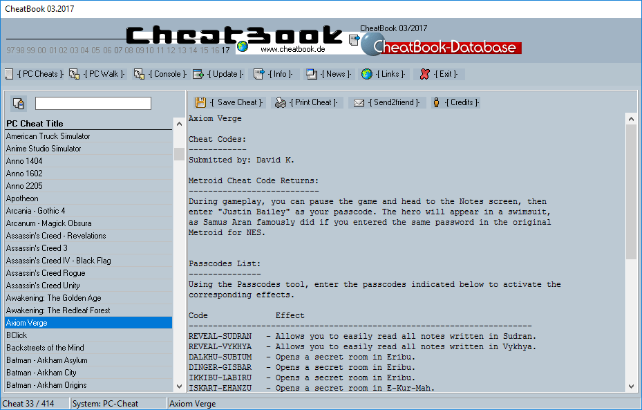 CheatBook (03/2017) - Issue March 2017 is A Cheat-Code Tracker with Cheats, Tips, Tricks and Hints for several popular Games