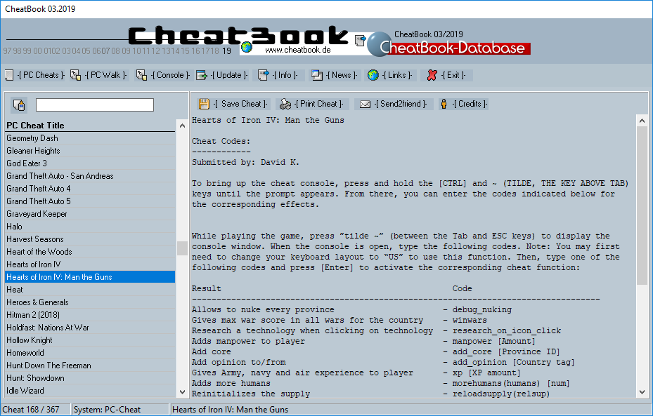 CheatBook Issue 03/2019 full screenshot
