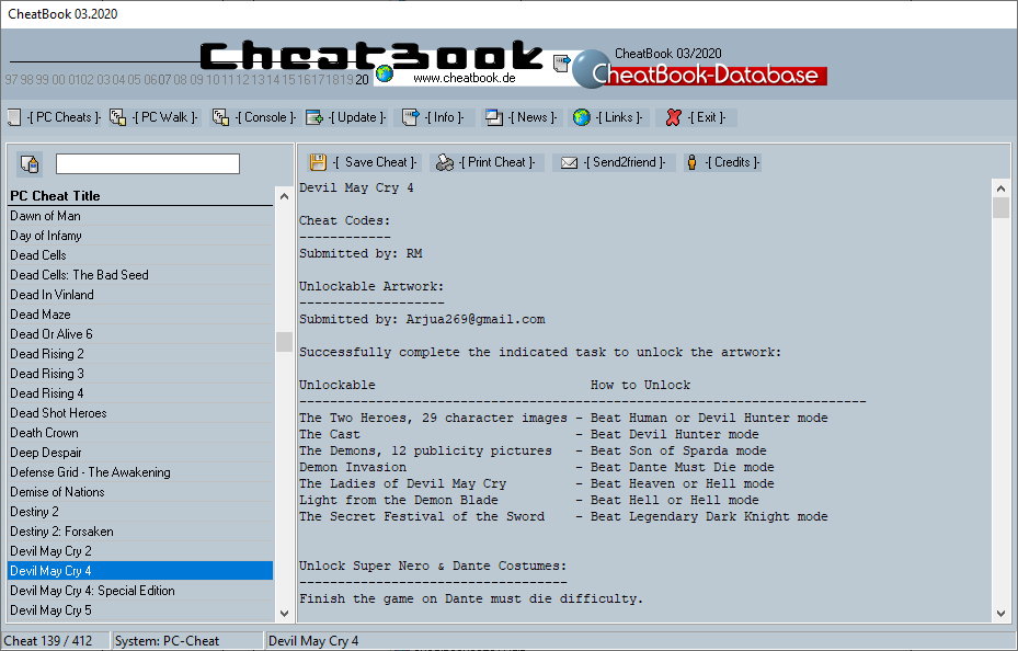 CheatBook (03/2020) - Issue March 2020 is A Cheat-Code Tracker with Cheats, Tips, Tricks and Hints for several popular Games