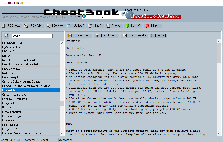 CheatBook (04/2017) - Issue April 2017 is A Cheat-Code Tracker with Cheats, Tips, Tricks and Hints for several popular Games