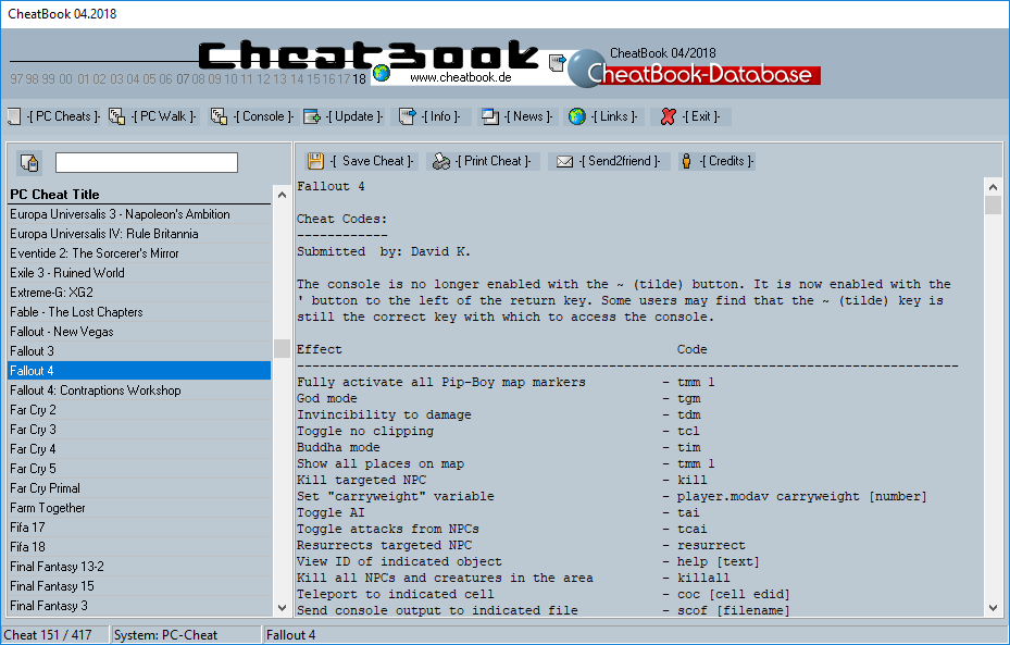 CheatBook (04/2018) - Issue April 2018 is A Cheat-Code Tracker with Cheats, Tips, Tricks and Hints for several popular Games