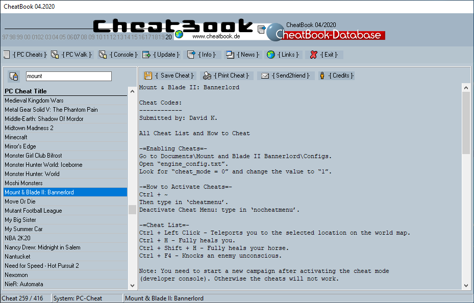 CheatBook (04/2020) - Issue April 2020 is A Cheat-Code Tracker with Cheats, Tips, Tricks and Hints for several popular Games