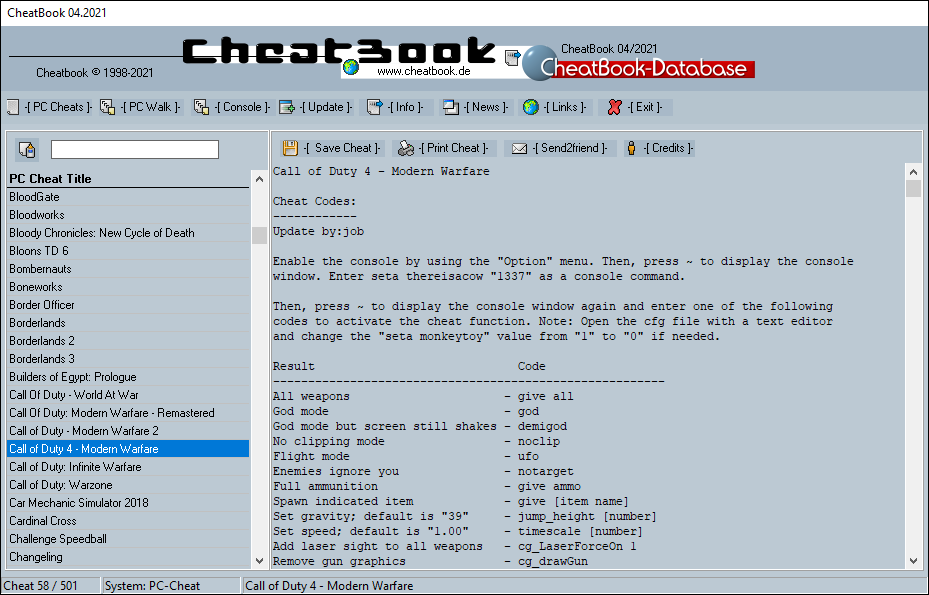 CheatBook (04/2021) - Issue April 2021 is A Cheat-Code Tracker with Cheats, Tips, Tricks and Hints for several popular Games