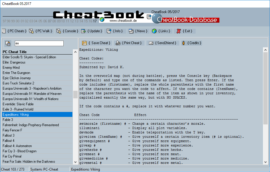 CheatBook (05/2017) - Issue May 2017 is A Cheat-Code Tracker with Cheats, Tips, Tricks and Hints for several popular Games