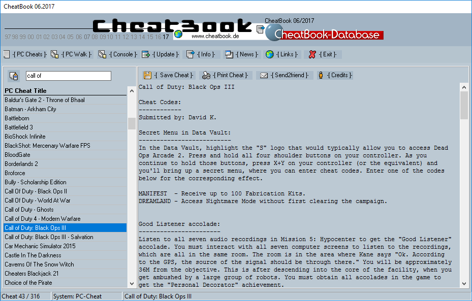 CheatBook (06/2017) - Issue June 2017 is A Cheat-Code Tracker with Cheats, Tips, Tricks and Hints for several popular Games