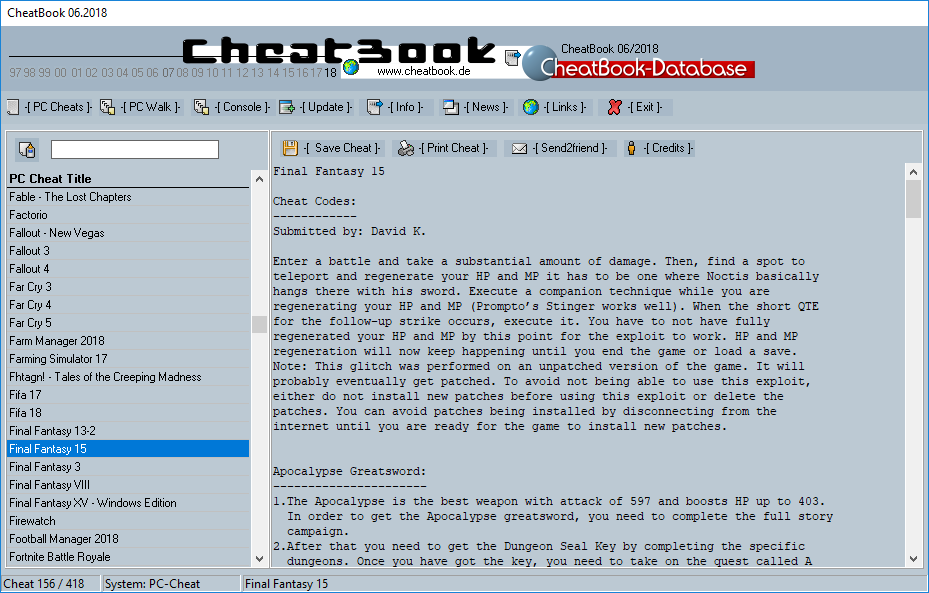CheatBook (06/2018) - Issue June 2018 is A Cheat-Code Tracker with Cheats, Tips, Tricks and Hints for several popular Games