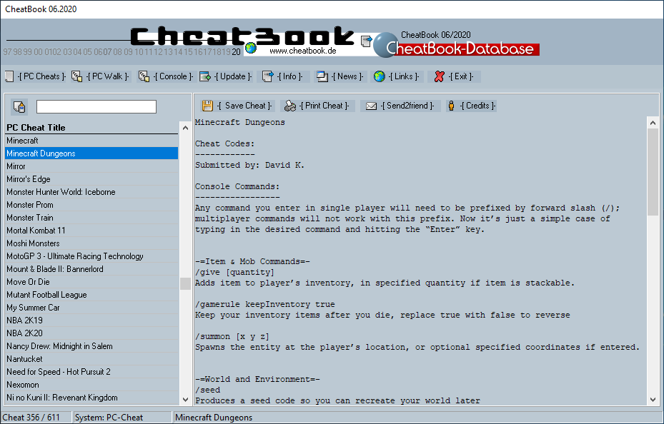 CheatBook (06/2020) - Issue June 2020 is A Cheat-Code Tracker with Cheats, Tips, Tricks and Hints for several popular Games