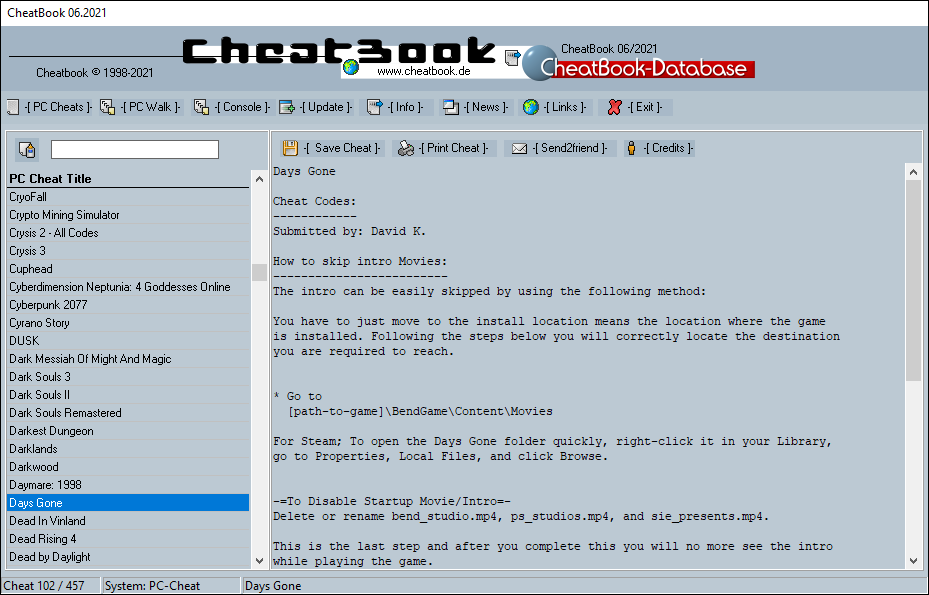 CheatBook (06/2021) - Issue June 2021 is A Cheat-Code Tracker with Cheats, Tips, Tricks and Hints for several popular Games