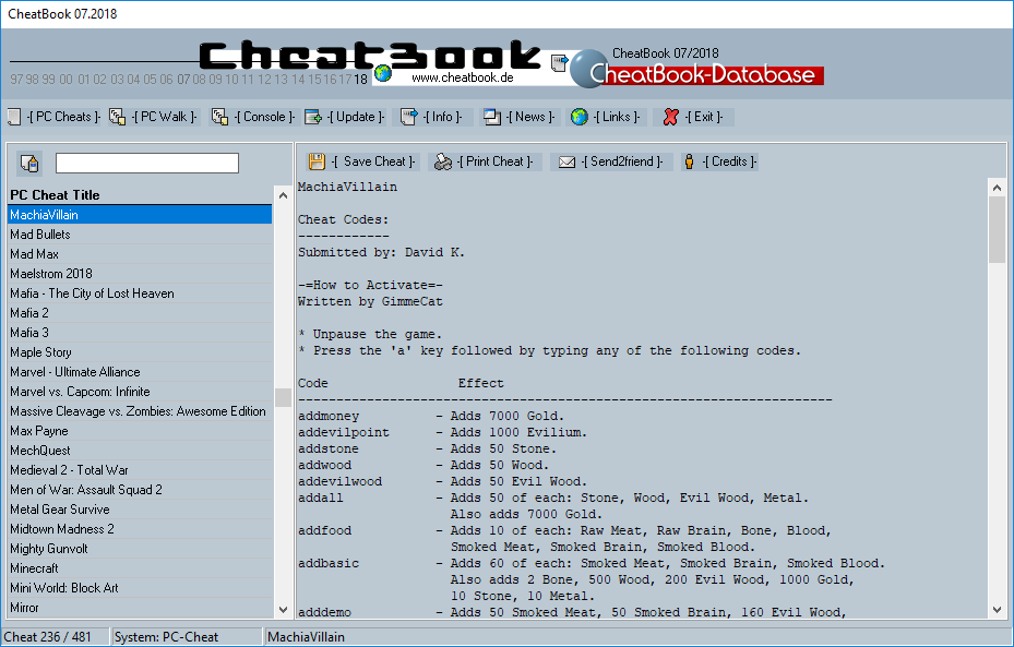 CheatBook (07/2018) - Issue July 2018 is A Cheat-Code Tracker with Cheats, Tips, Tricks and Hints for several popular Games
