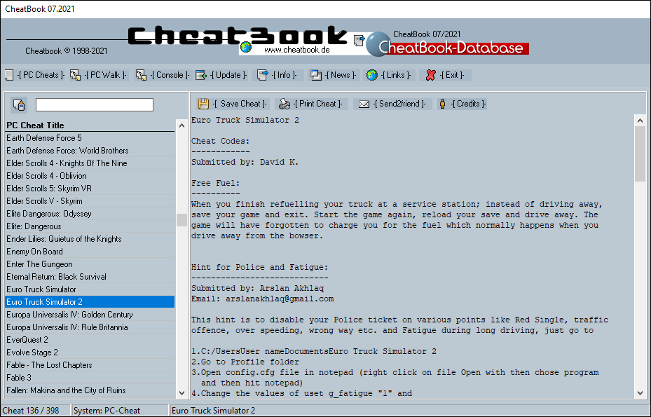 CheatBook (07/2021) - Issue July 2021 is A Cheat-Code Tracker with Cheats, Tips, Tricks and Hints for several popular Games