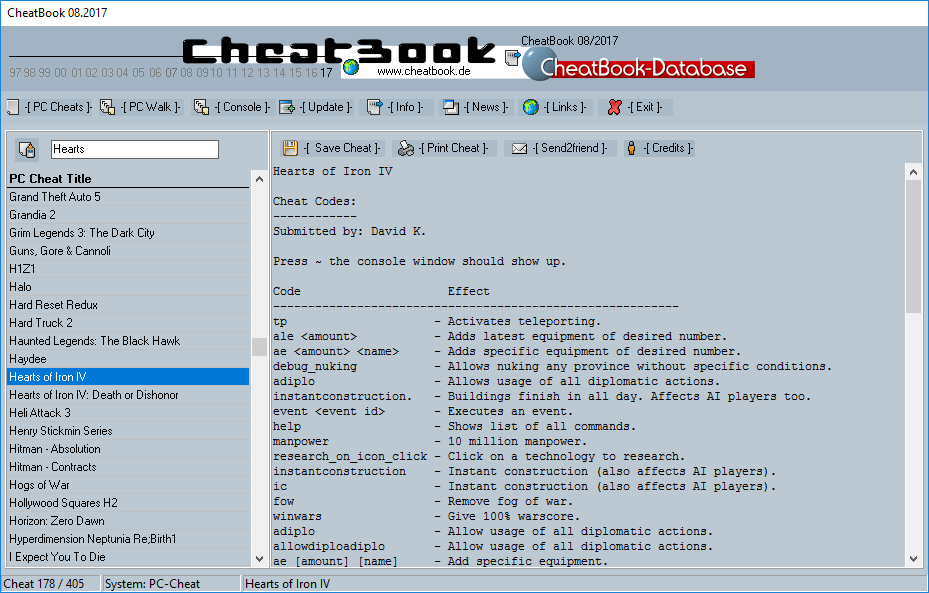 CheatBook (08/2017) - Issue August 2017 is A Cheat-Code Tracker with Cheats, Tips, Tricks and Hints for several popular Games