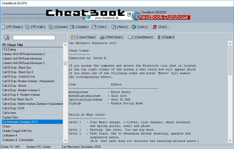 CheatBook Issue 08/2018