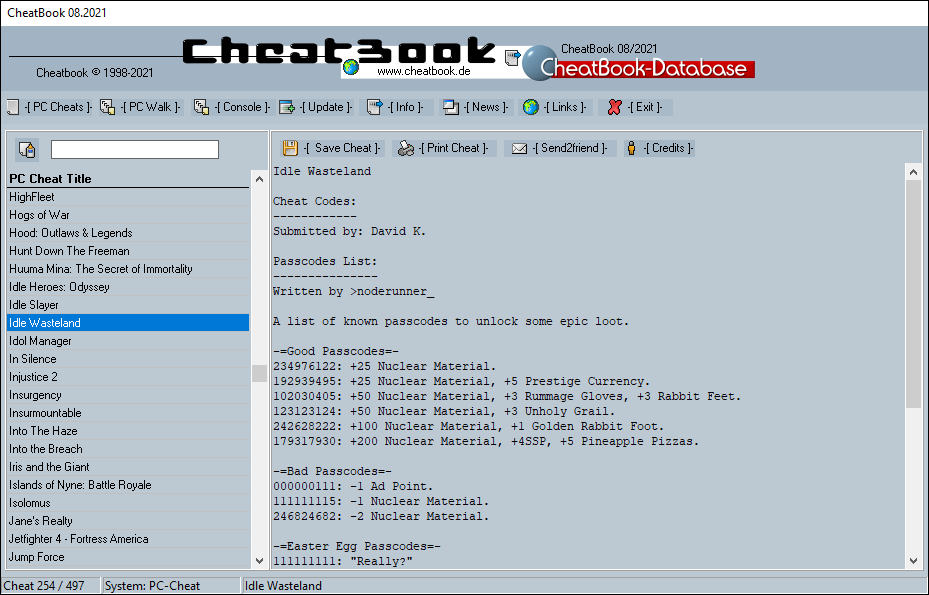 CheatBook (08/2021) - Issue August 2021 is A Cheat-Code Tracker with Cheats, Tips, Tricks and Hints for several popular Games
