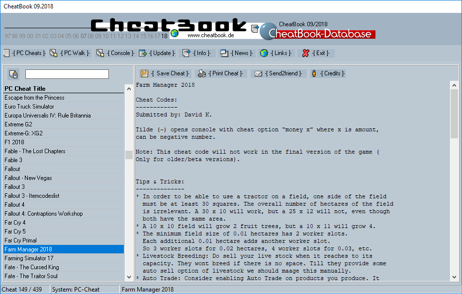 CheatBook (09/2018) - Issue September 2018 is A Cheat-Code Tracker with Cheats, Tips, Tricks and Hints for several popular Games