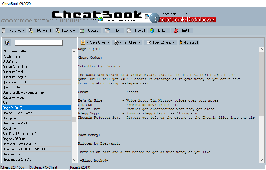 CheatBook (09/2020) - Issue September 2020 is A Cheat-Code Tracker with Cheats, Tips, Tricks and Hints for several popular Games