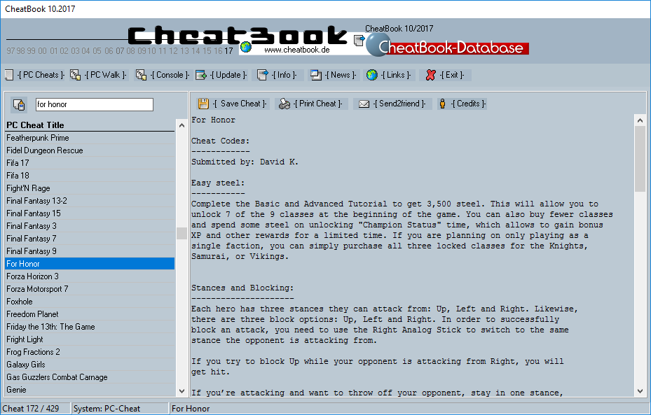 CheatBook (10/2017) - Issue October 2017 is A Cheat-Code Tracker with Cheats, Tips, Tricks and Hints for several popular Games