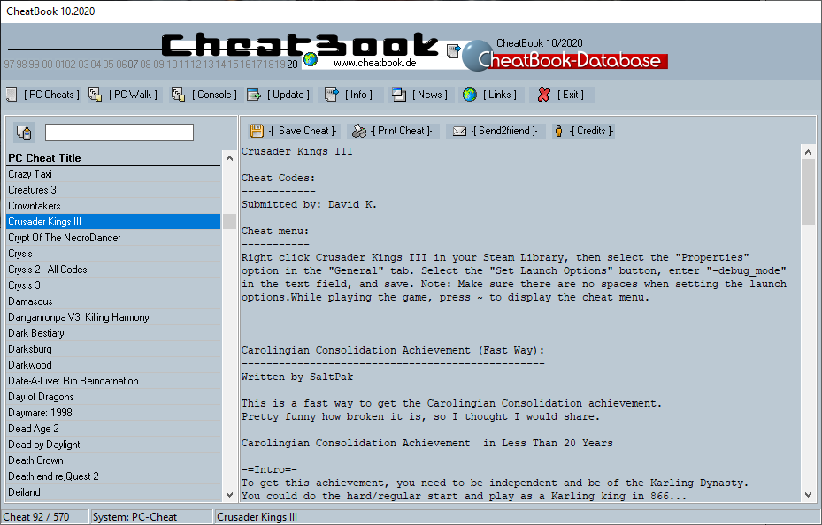 CheatBook (10/2020) - Issue October 2020 is A Cheat-Code Tracker with Cheats, Tips, Tricks and Hints for several popular Games