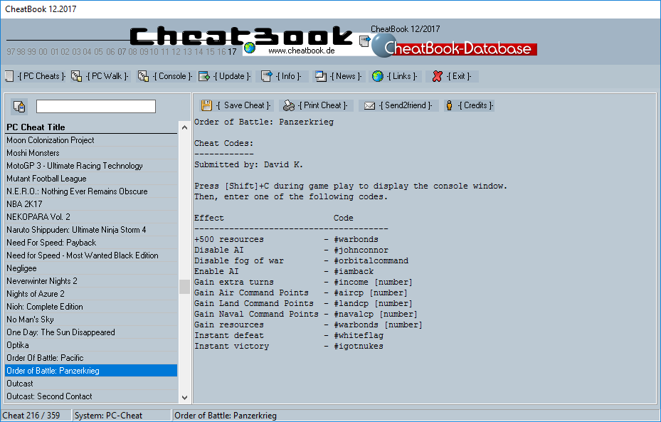 CheatBook (12/2017) - Issue December 2017 is A Cheat-Code Tracker with Cheats, Tips, Tricks and Hints for several popular Games