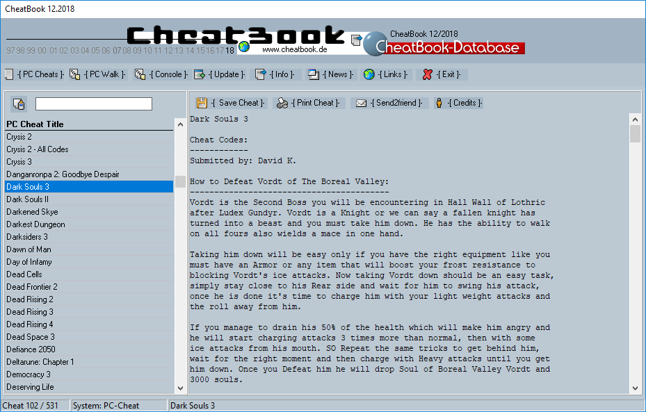 CheatBook (12/2018) - Issue December 2018 is A Cheat-Code Tracker with Cheats, Tips, Tricks and Hints for several popular Games