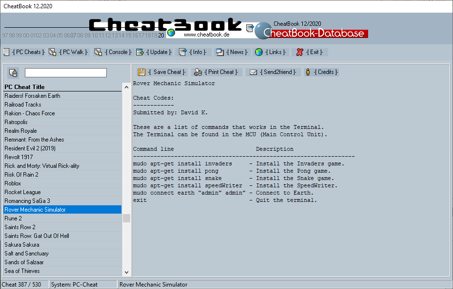 CheatBook (12/2020) - Issue December 2020 is A Cheat-Code Tracker with Cheats, Tips, Tricks and Hints for several popular Games