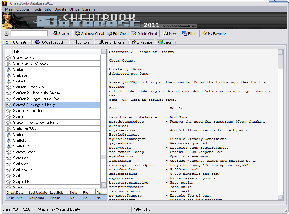 CheatBook-DataBase 2011 Screenshot - Cheats, Walkthroughs and Console Cheats for Games