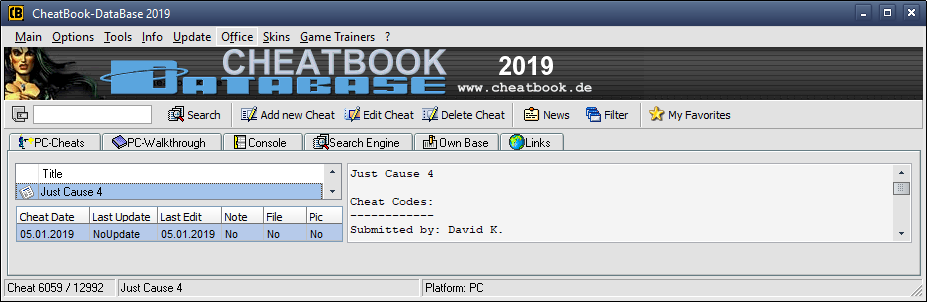 CheatBook - Downloads - Cheat Codes, Hints, Cheatsbook