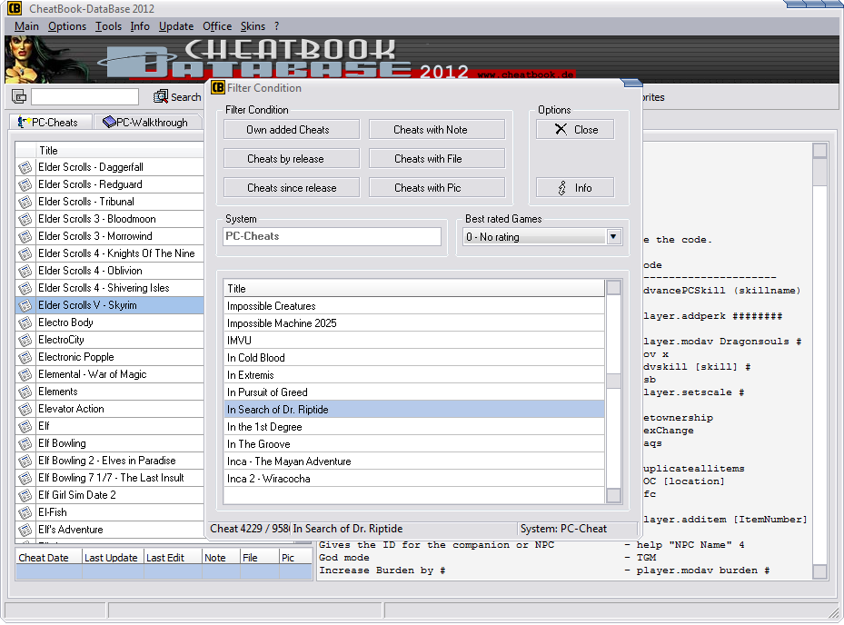 CheatBook-DataBase 2012 Screenshot - Cheats, Walkthroughs and Console Cheats for Games