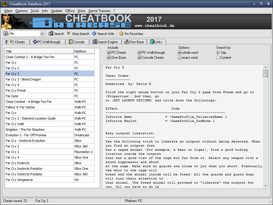 CheatBook-DataBase 2017 Screenshot - Cheats, Walkthroughs and Console Cheats for Games