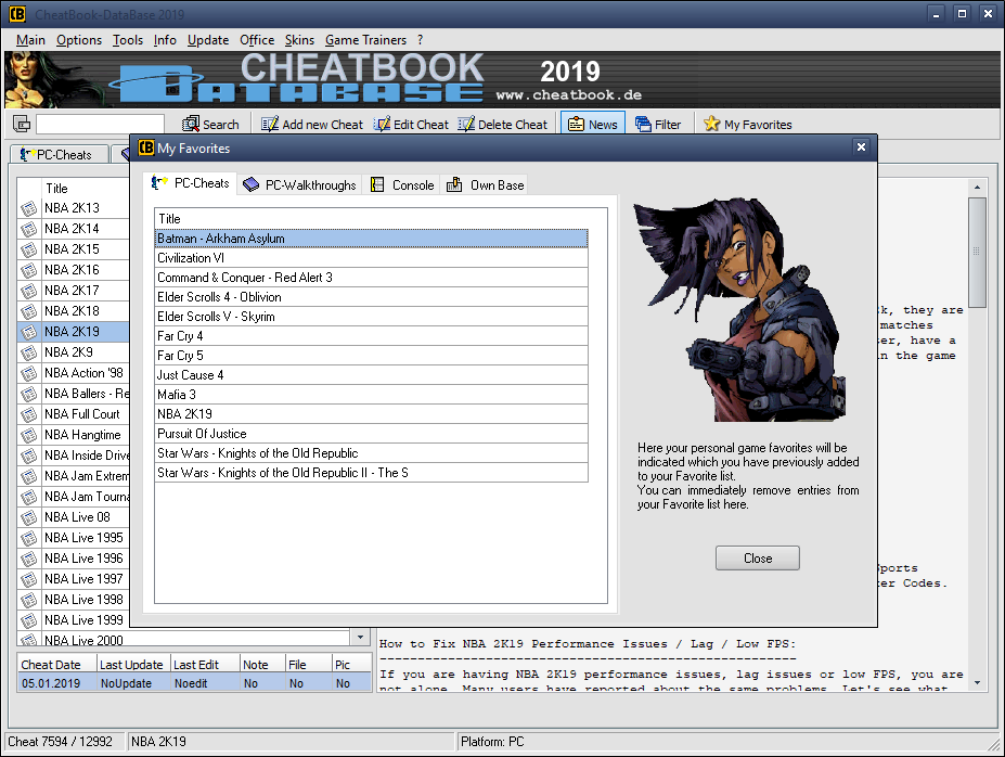 CheatBook-DataBase 2019 - Screenshot My favorite Cheats ...