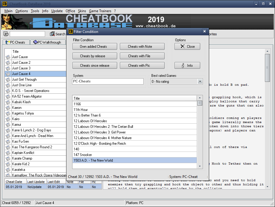 CheatBook-DataBase 2019 - Screenshot Filter Cheats ...